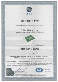 CERTIFICATE CELLTEX s.r.o. ISO 9001