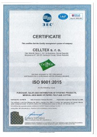 CERTIFICATE CELLTEX s.r.o. ISO 9001.2015